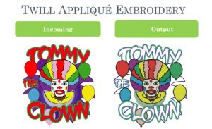 TWILL APPLIQUÉ EMBROIDERY